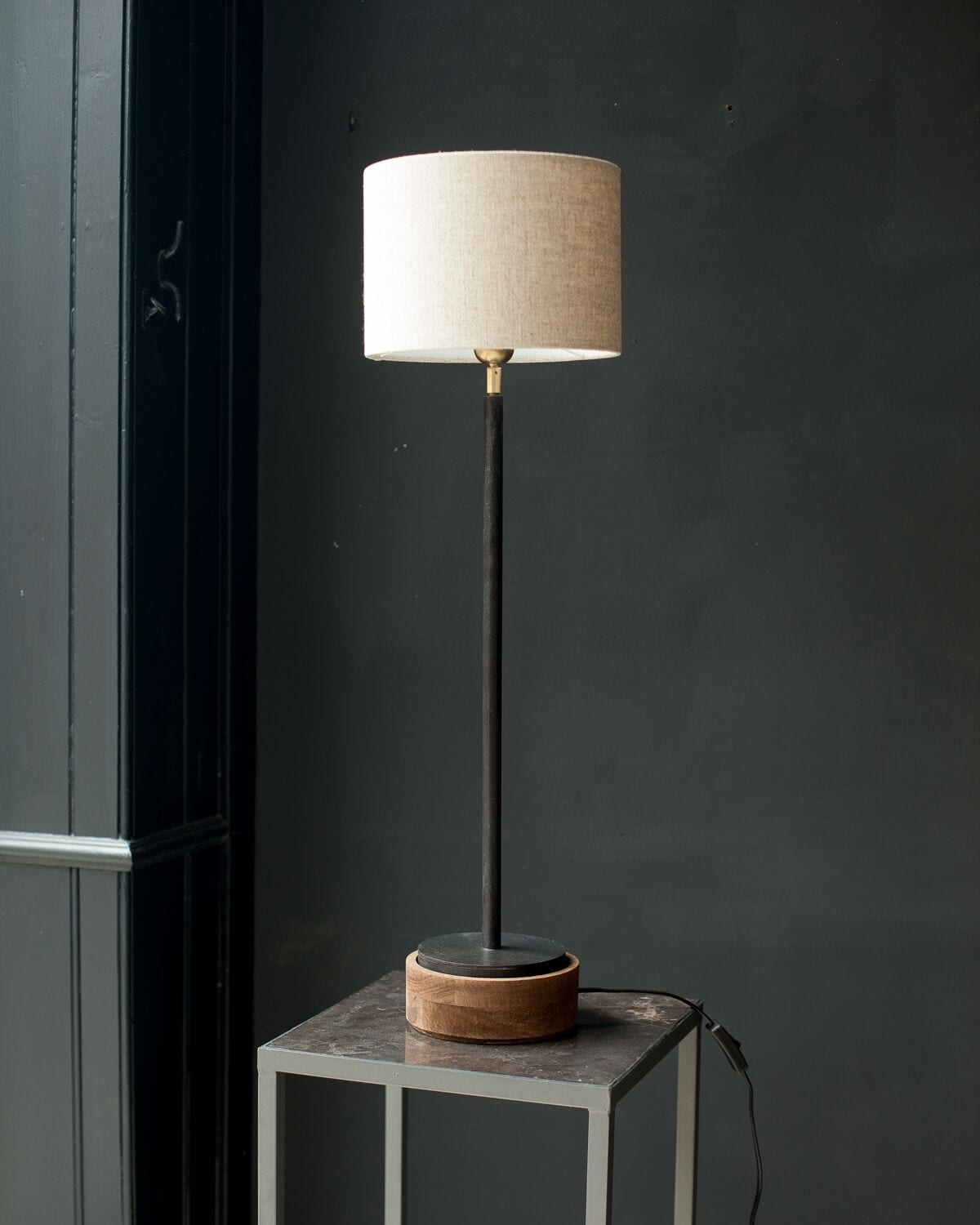 rickma table raw lamp metal accent uttermost woven