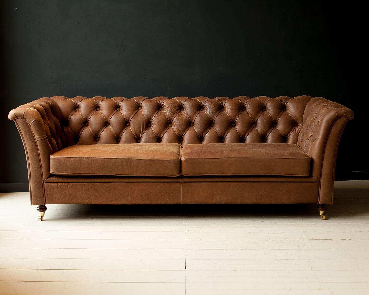 Button Back Italian Leather Sofa