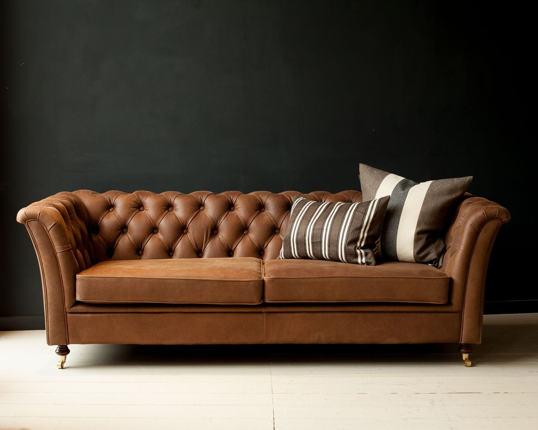 Button Back Italian Leather Sofa