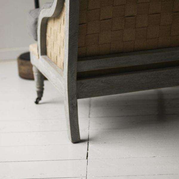 sofa detail, hessian armchair