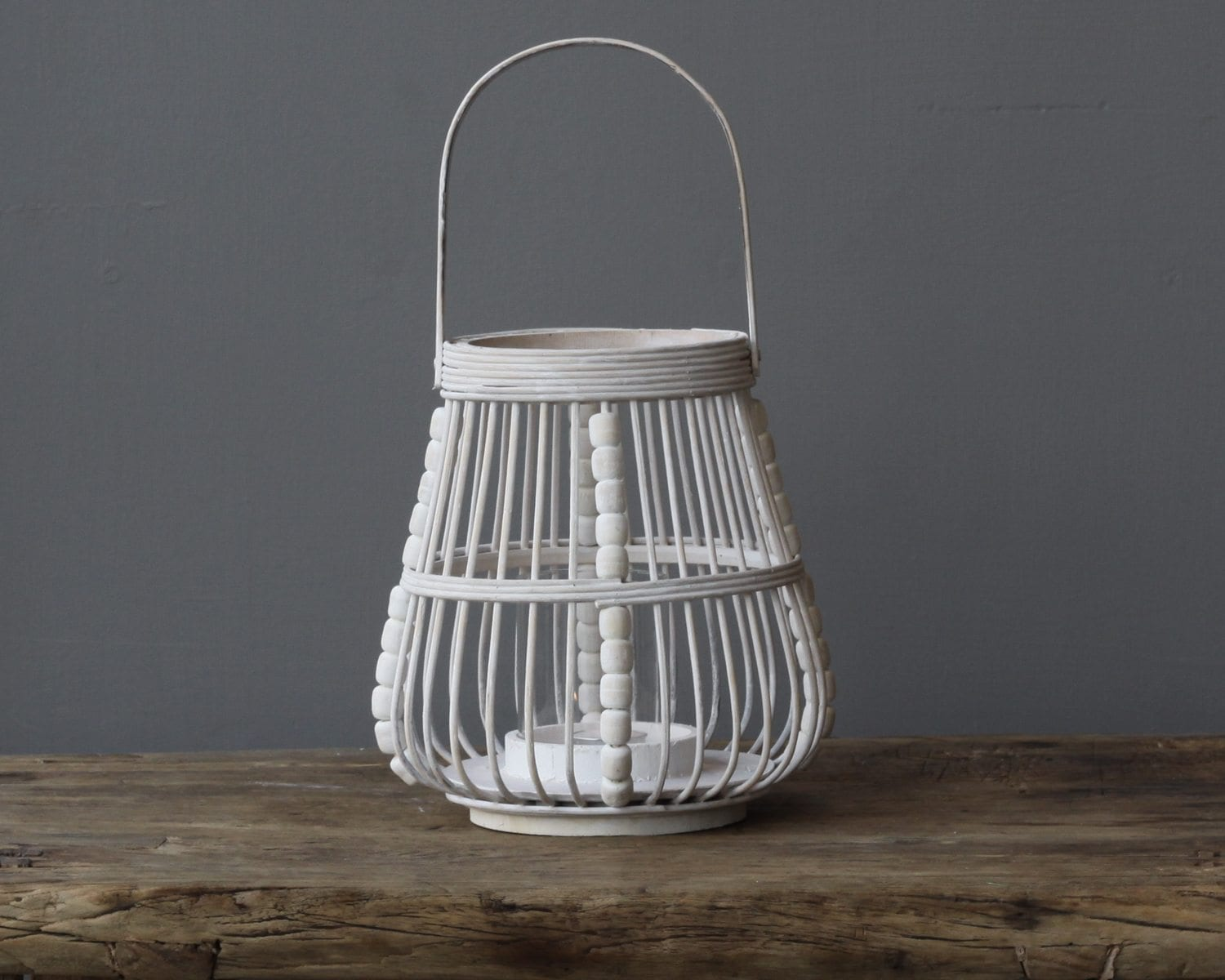 Coastal Off White Wooden Lantern