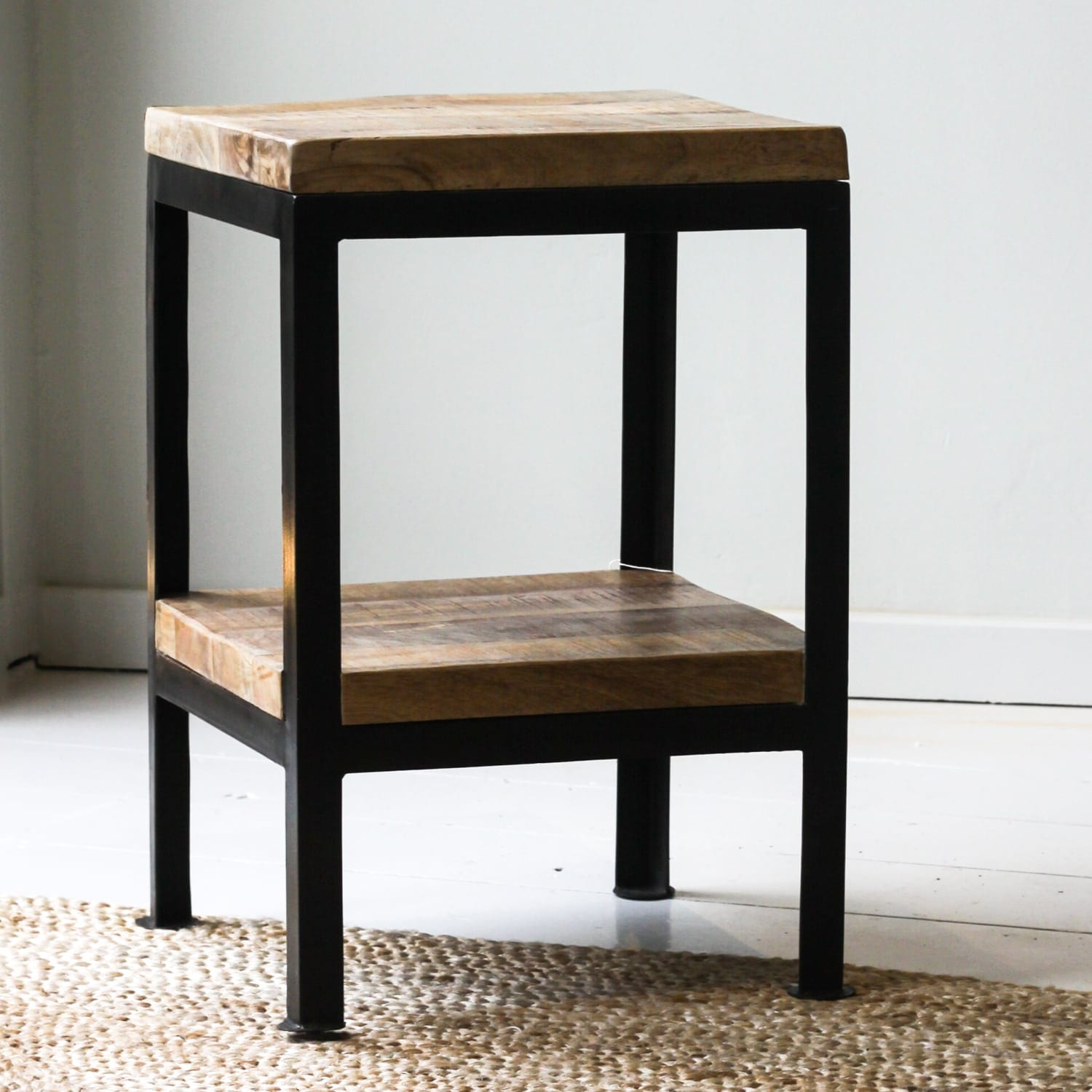 Cast Iron Side Table With Mango Wood Top