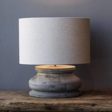 Grey Wood Squat Lamp With Natural Shade