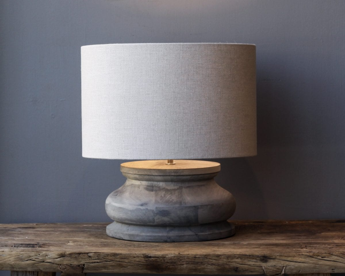 Grey Wood Squat Lamp With Natural Shade