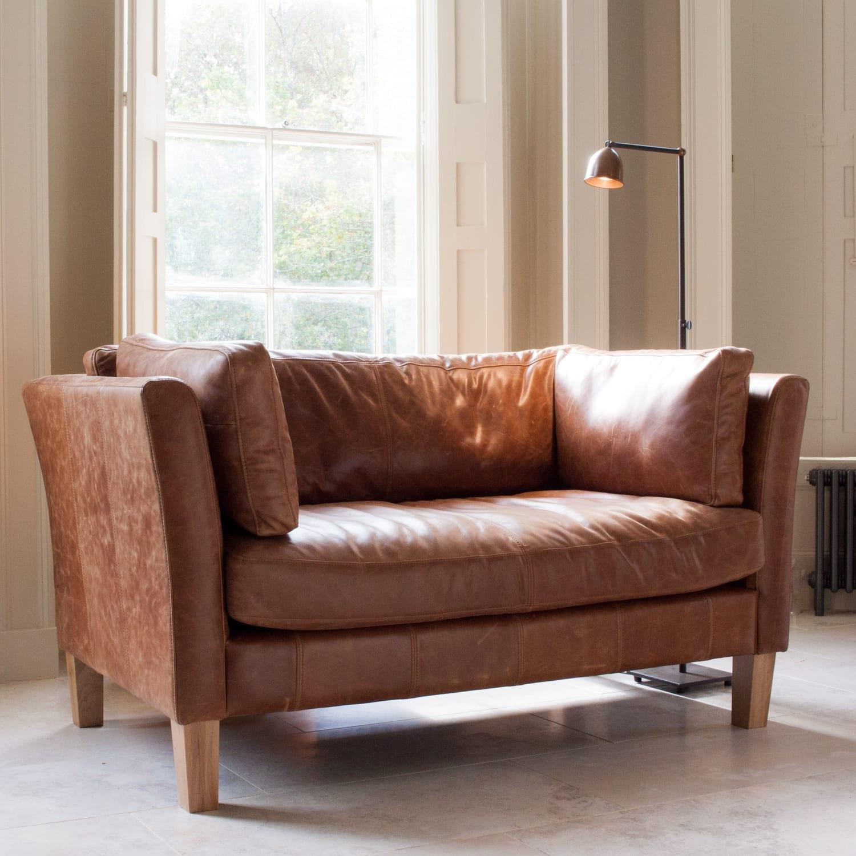 Croft Italian Tan Leather Two Seater Sofa Sofa