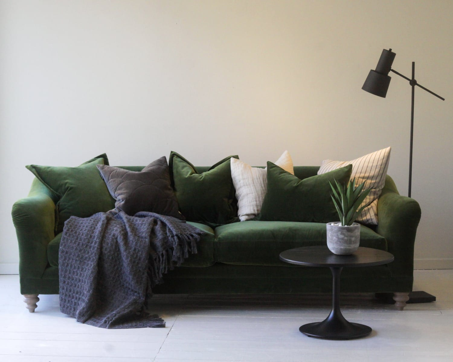 home-decor-velvet-green-sofa
