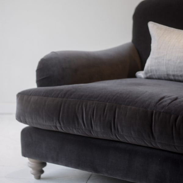 charcoal velvet sofa