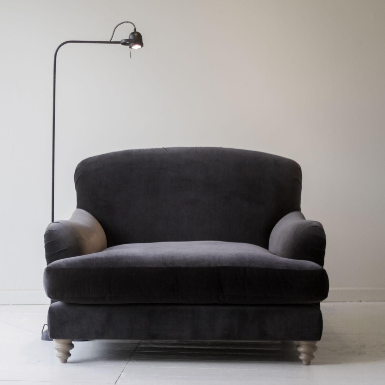 harlet charcoal velvet snuggler sofa