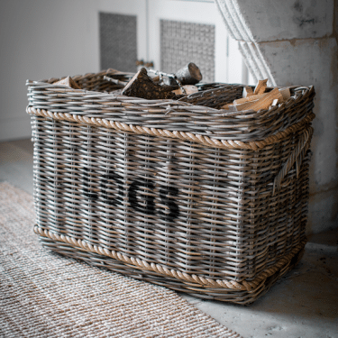 """Rope & Rattan Large Log Basket"""