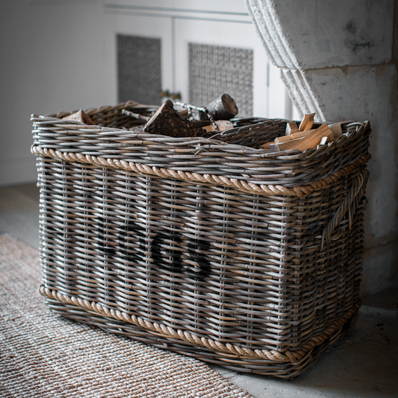 willow log basket fireside furniture