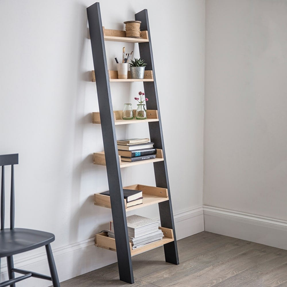 oak-shelf-ladder-storage-stylish