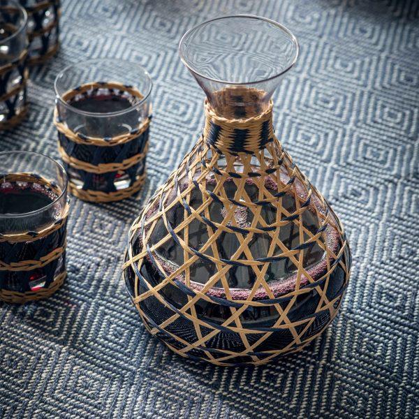 Glass Rattan Carafe