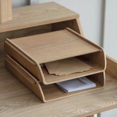 Wooden Stacking Desk Organiser