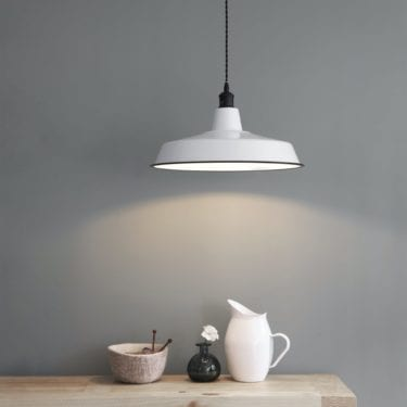 Wide Enamel Pendant Light