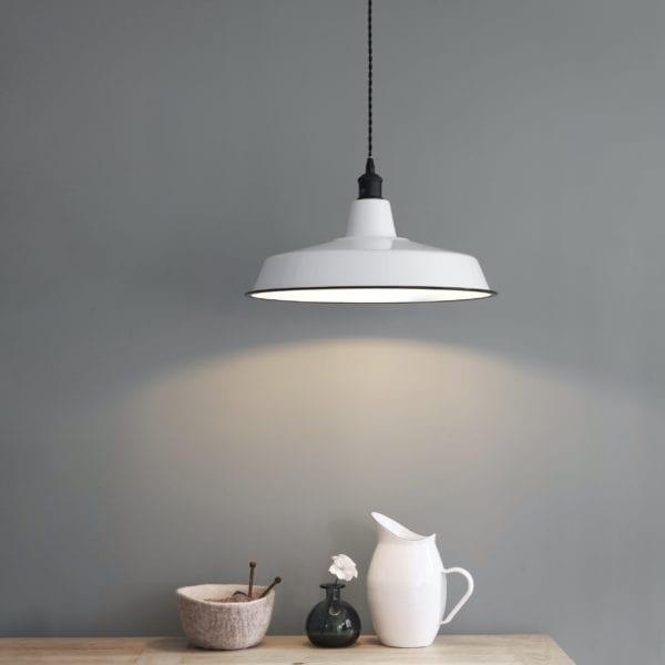 Wide Enamel Pendant Light